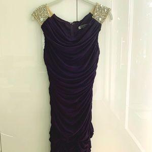 Dresses & Skirts - ✨Purple jeweled illusion shoulder cocktail dress
